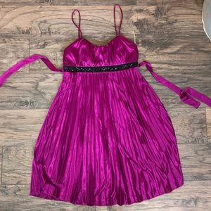 Fuchsia adjustable strap pleated dress, beaded bod